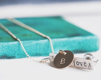 Personalized Silver and Gold Necklace with Word and Initial  {Hand Stamped 14k Gold Fill & Sterling Silver}