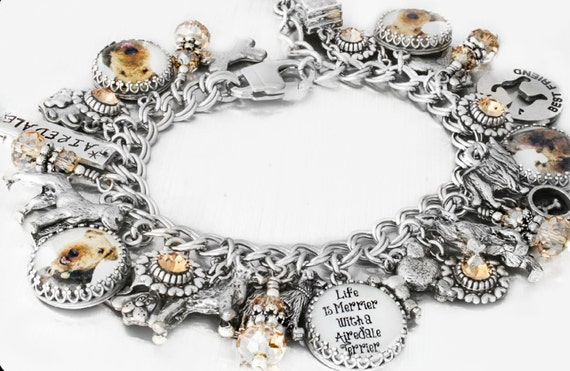 personalized dog charm bracelet, handmade, dea shelton, blackberry designs jewelry