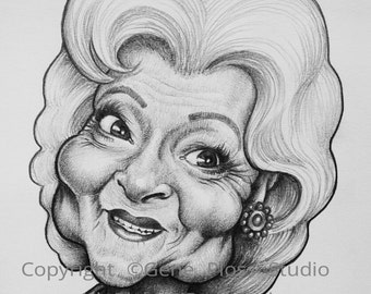 Betty White Celebrity Caricature Drawing - Digital Download - Clip Art - Editorial
