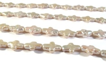 White Pearl Beads, Freshwater Pearl Crosses, Sideways Cross Beads , 16 Inch Strand of Pearls for Making Jewelry (P-C10)