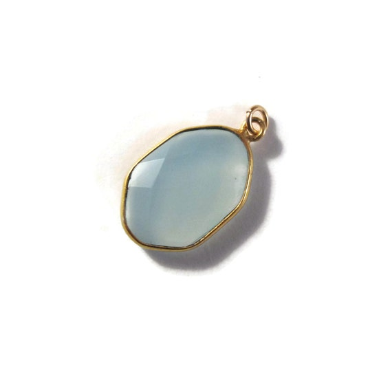 One Blue Chalcedony Charm, Light Blue Gemstone with Gold Plated Bezel, 22mm x 14mm Charm for Making Jewelry (C-Ch2a)