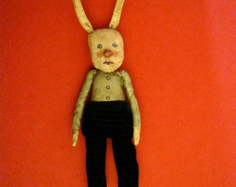 rabbit clown art doll, sandy mastroni , white rabbit, odd doll, bizarre,hand stitches, spooky odd
