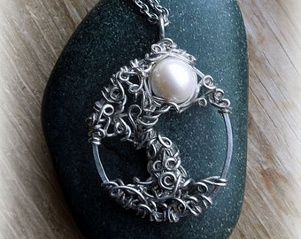Moonlight Sterling Silver Tree of Life with Large Pearl Moon