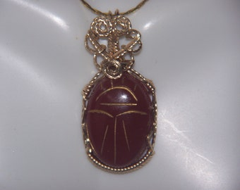 Carnelian EGYPTIAN SCARAB  Pendant Genuine Carved Gemstone Wire Wrap 14k Gold Filled Setting