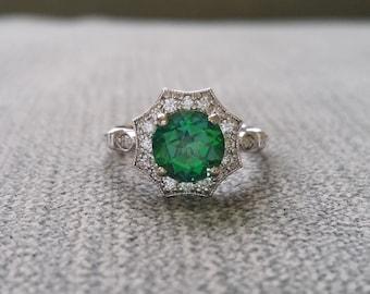 "7mm Version Halo Rainforest Green Topaz Diamond Ring Gemstone Engagement Ring Antique Flower Estate 14K White Gold Vintage ""The Elsa"""