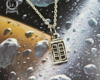 Police Box Pendant - Handmade Pewter Jewelry Creations By Doctor Gus - Doctor Who TARDIS Inspired Necklace - Time Machine - The Doctor