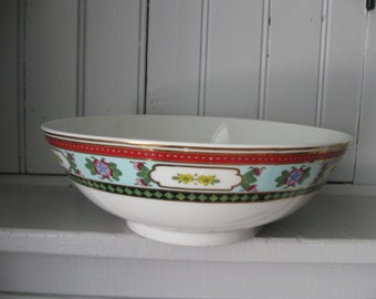 1970s Taiwanese Colorfully Banded Decorative Serving Bowl with Gilding