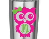 Pink and Green Owl Monogram Vinyl Decal for Yeti Cups, Car, iPads, Computer or Whatever other Surface you can Find!!