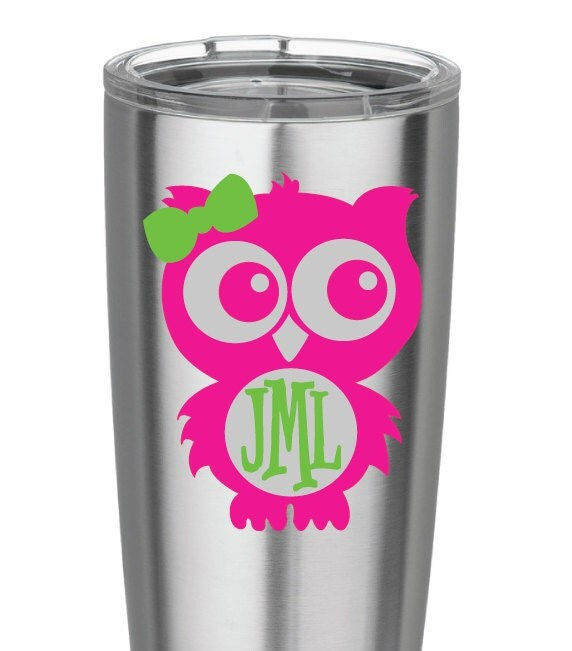 Pink And Green Owl Monogram Vinyl Decal For Yeti Cups Car