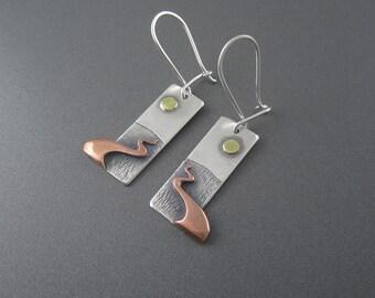 Handmade Chocolay Bayou Sunrise Mixed Metal Silver, Copper & Brass Earrings
