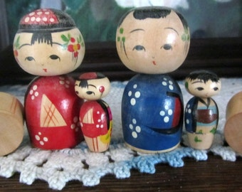 Vintage 1950s Japanese Kokeshi Wooden Nodder Nesting Doll Set of Two w/Two Tiny Nesting Nodders in Wooden Box*