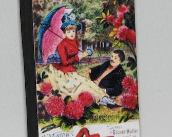 Primitive Style Standing Wood Block Vintage Trade Card Look Romantic Couple Decoration