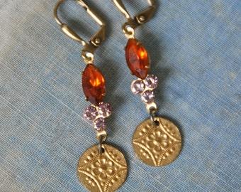 Topaz and amethyst crystal drop earrings/gold coin earrings/rhinestone dangle earrings/boho jewelry. Tiedupmemories