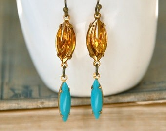 Golden topaz and turquoise jewel earrings /rhinestone dangle earrings / boho jewel earrings. Tiedupmemories