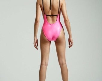 Pink Wet Look 80's One Piece Glam High Cut, Low Back Bathing Suit - Free Shipping
