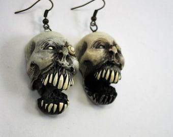 Twin Zombie, Shrunken Head, Walker, Zombie Head Earrings