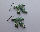 Green Oak Leaves Earrings -- Green Oak Leaf Earrings, Silver Wire Spirals, Swarovski Crystals -- Hand Inked Brass by Silver Owl Creations