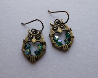 Round Owl Earrings -- Green Swarovski Crystal Wire Wrapped Beads, Antique Brass Owls, Niobium Ear Wires, Round Owl Earrings
