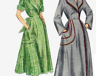 1950s Misses Housecoat and Brunch Coat Simplicity 3368 Vintage Sewing Pattern Size 12 Bust 30