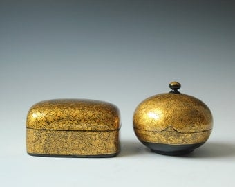 2 vintage gold lacquered lidded boxes for jewelry or small treasures - bohemian decor table accent