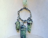 Protection Amulet Shield Green Kyanite Gemstone Necklace