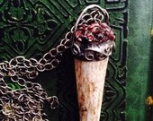 Garnet Jewel Antler Pendant, Heart of the Forest