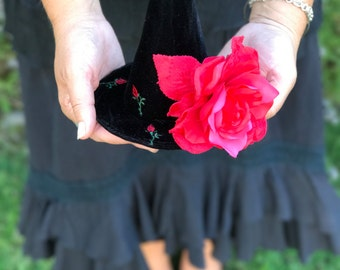 Witch Hat Fascinator, Elegant Black Red Rose Witches Mini Hat, Tea Party, Halloween Costume