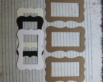 3 medium bracket rectangle frame Die cuts [choose chipboard or cardstock]