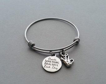 Art Charm Bracelet, Artist Bracelet, Artist Charm, Create Something Beautiful Each Day, Art Teacher Gift, Artist Gift, Stainless Steel