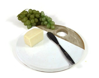 Cheese Stone - Cheese Plate - Pottery Tapas Plate - Pizza Stone - Ready to Ship