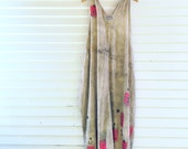 Happy Blockprints - One Size fits S-L, long cotton sundress, natural dyes, hand printed, OOAK, wearable art dress, loose fitting dress, art