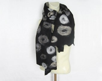 Hand Felted Black Scarf Merino Wool Silk Silver Yak Black White Grey Natural Colour Silk