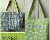 Large Tote Reversible Arrow Deer Gray and Lime