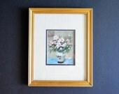 """Framed Marcel Dyf """"Pink Peony Bouquet in a Vase""""  -Still Life Art Signed French Impressionist Artist Vintage Art Print Gold Wood Frame"""