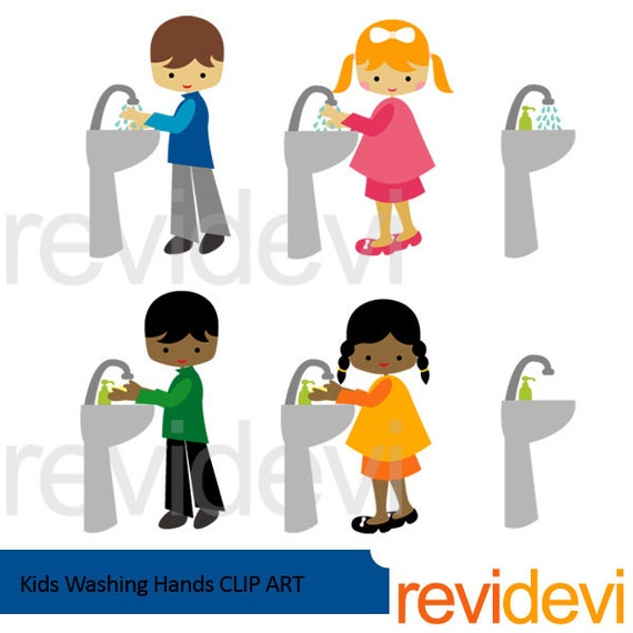 Kids washing hands clipart / boys girls wash hands clip ...