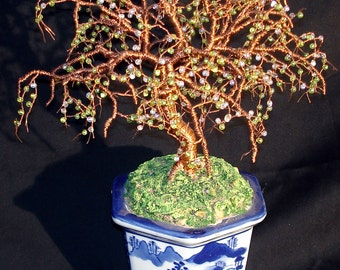 Beaded Bonsai Glass Beaded Wire Tree Sculpture
