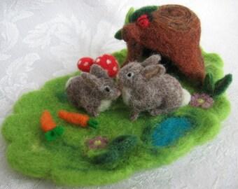 Needle Felted Rabbit,Waldorf , Agaric Mushrooms,Needle Felt Bunny,Cottontail Rabbit,Needle Felt Tree, Nature Table, Seasonal Table