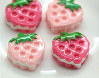 MINIATURE RESIN Strawberry Sandwich Cookie
