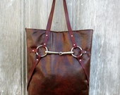 Equestrian Silver Horse Bit Tote Bag in Vintage Patina Leather by Stacy Leigh RESERVED for Lisa