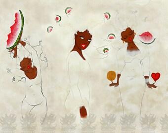 Print:11X14 16x20 20x30 White Series Trio! Affirmation Natural Hair by karin turner KarinsArt  watermelon african american spirit