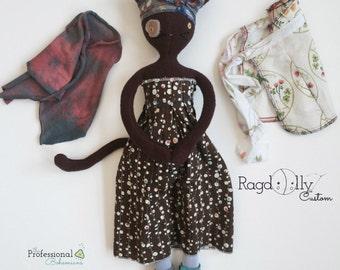 Handmade Cloth Cat Doll, Fabric Kitty
