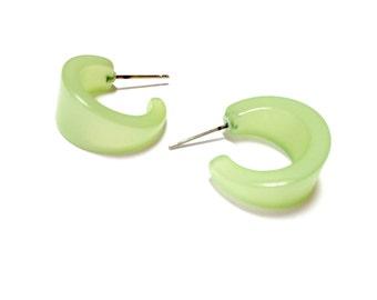 Mint Green Hoop Earrings   Light Green Moonglow Mini Boomer Hoops   lucite hoop earrings