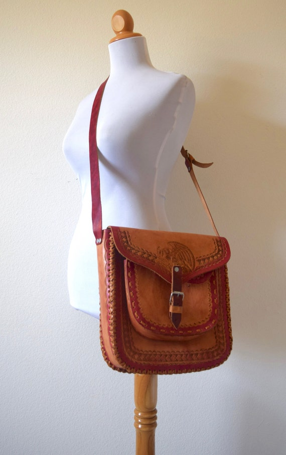 Vintage 70s Tooled Brown Leather Crossbody Messenger Bag