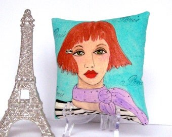 ANGELIQUE FRENCH PILLOW, hand painted, Paris lady, Gift for Francophile, Paris, ocean blue, gift for her, lavender, striped shirt,