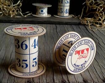 2 Upcycled Bingo Card & Milk Bottle Cap Handmade Spools for Ribbon, Dresden, Etc.
