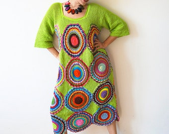 Plus Size Clothing Women's Dress, Size Plus, Green - Crochet ,Light Silky Yarn - MADE TO ORDER