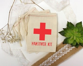 Hangover Kit Muslin Bags, Party Favors, Wedding Favors, Bridesmaid Gift, Bachelorette Party Gifts, Bachelor Party Gifts