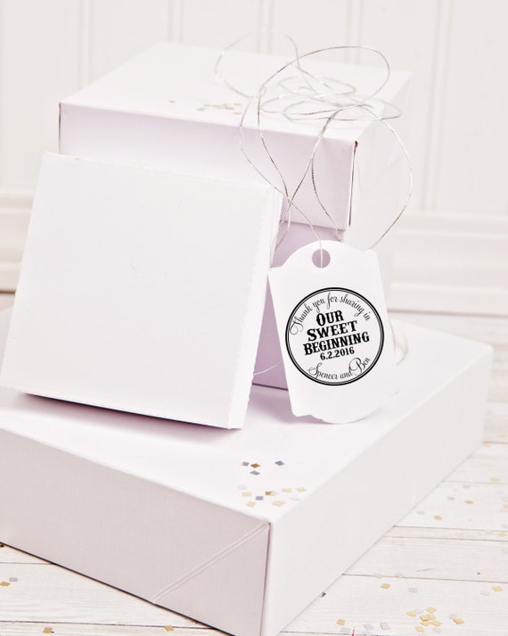 Custom Rubber Stamp to Create Wedding Favors Thank You for Sharing in our Sweet Beginning  --13046-CB17-000