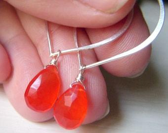 Fire Opal Earrings Sterling Silver Hoop, Wirewrapped Orange Chalcedony Briolette Gemstone, Lotus Earwire