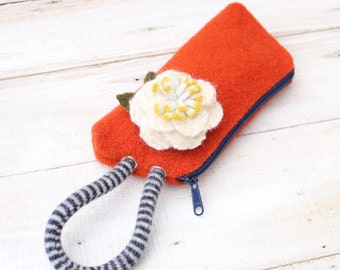 Boiled  Wool  Wristlet  in Orange  and Blue with Detachable White Wool  Flower Brooch
